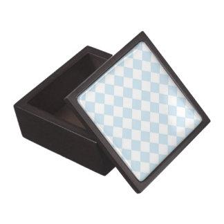 Pastel Blue and White Diamond Checkered Pattern Premium Trinket Box