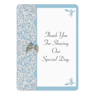 Pastel blue and white lace wedding thank you tag large business cards (Pack of 100)