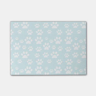 pastel blue and white pet paw prints pattern post-it notes