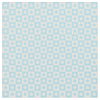 Pastel blue and white square and stars fabric