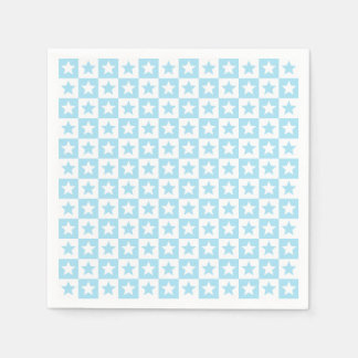 Pastel blue and white square and stars napkin