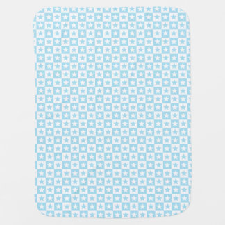 Pastel blue and white square and stars receiving blanket