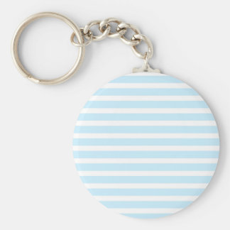 Pastel Blue and White Stripes Keychain