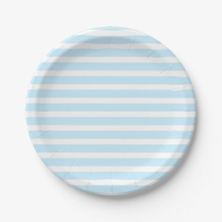 Pastel Blue and White Stripes Paper Plates