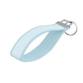 Pastel Blue and White Stripes Wrist Keychain