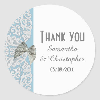 Pastel blue and white traditional lace thank you classic round sticker
