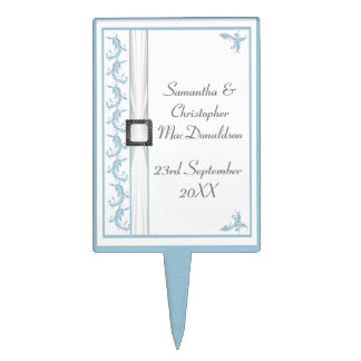 Pastel blue and white traditional lace wedding cake topper