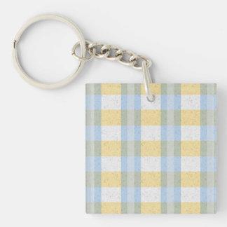 Pastel Blue and Yellow Plaid Pattern Keychain