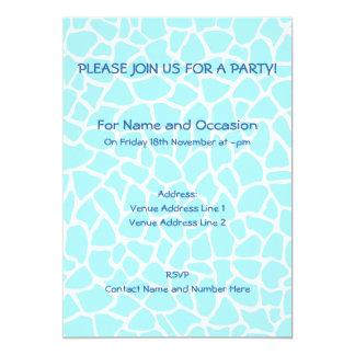 Pastel Blue Animal Print Giraffe Pattern 5x7 Paper Invitation Card