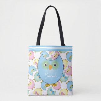 Pastel Blue Baby Owls Tote Bag