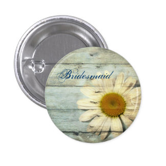 pastel blue barnwood country daisy bridesmaid button