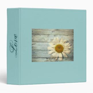 pastel blue barnwood country daisy wedding binder