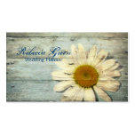 pastel blue barnwood country daisy wedding business card