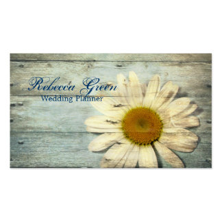 pastel blue barnwood country daisy wedding business card