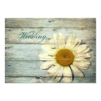 pastel blue barnwood country daisy wedding card