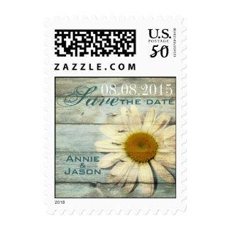 pastel blue barnwood country daisy wedding postage