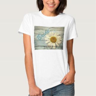 pastel blue barnwood country daisy wedding T-Shirt