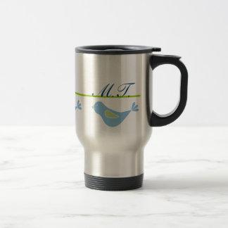 Pastel Blue Bird Monogrammed Travel Mug