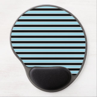 Pastel Blue, Black and White Stripes Gel Mouse Pad