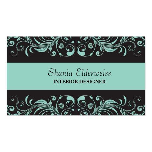 Pastel Blue & Black Damask Business Card