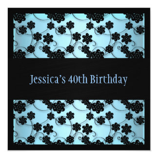 Pastel Blue & Black Flowers 40th Birthday 5.25x5.25 Square Paper Invitation Card