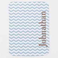 Pastel Blue Chevron Zigzag Custom Baby Blanket