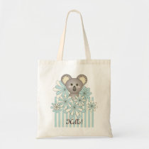 Pastel Blue Cute Animal Cartoon Koala Kids Name Tote Bag