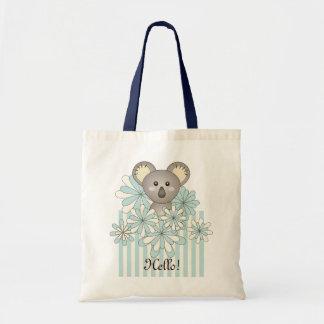 Pastel Blue Cute Animal Koala Personalized Kids Tote Bag