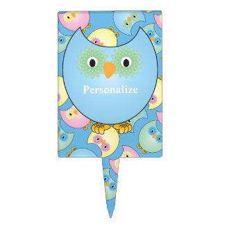 Pastel Blue Cute Owl Baby Shower Theme Cake Topper
