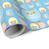 Pastel Blue Cute Owl Baby Shower Theme Wrapping Paper