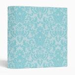 Pastel Blue Damask Pattern 3 Ring Binders