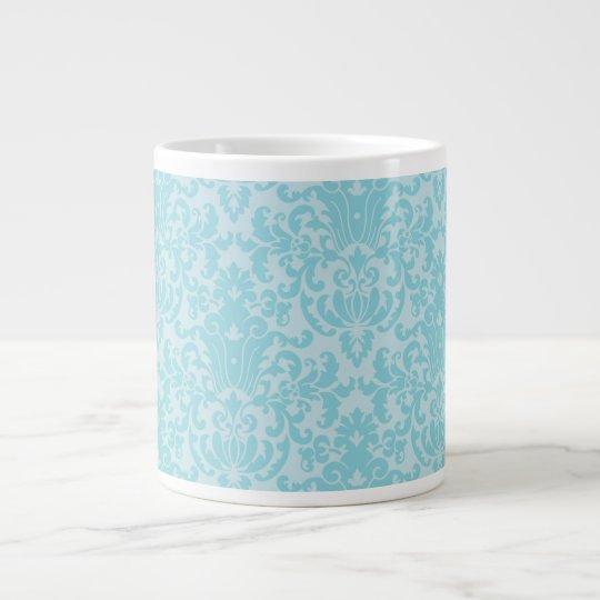 Pastel Blue Damask Pattern Large Coffee Mug