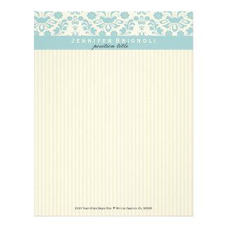 Pastel Blue Damasks And Beige Stripes Letterhead