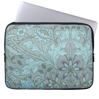 Pastel Blue Decorative Flowers Laptop Computer Sleeve