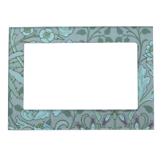 Pastel Blue Decorative Flowers Magnetic Photo Frame
