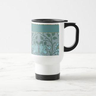 Pastel Blue Decorative Flowers 15 Oz Stainless Steel Travel Mug