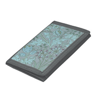 Pastel Blue Decorative Flowers Tri-fold Wallets