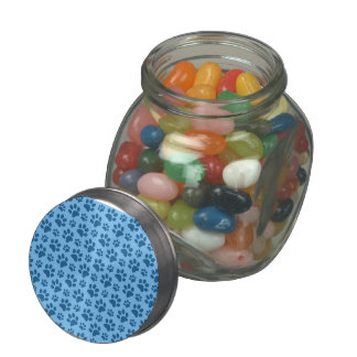 Pastel blue dog paw print pattern glass candy jar