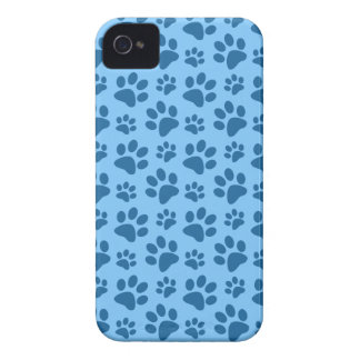 Pastel blue dog paw print pattern Case-Mate iPhone 4 cases