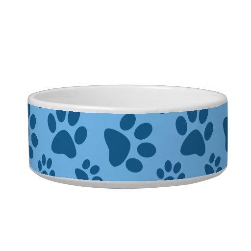 Pastel blue dog paw print pattern cat bowls