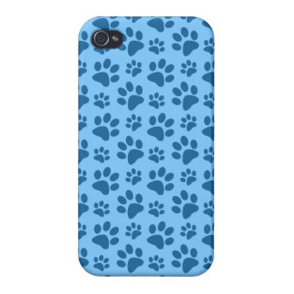 Pastel blue dog paw print pattern cases for iPhone 4