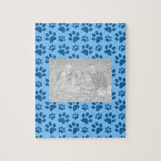 Pastel blue dog paw print pattern jigsaw puzzles