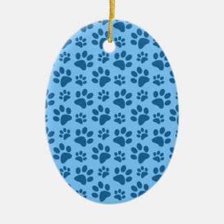 Pastel blue dog paw print pattern Double-Sided oval ceramic christmas ornament