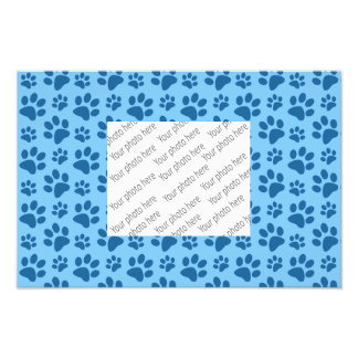 Pastel blue dog paw print pattern photographic print