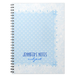 Pastel Blue Floral Lace & White Pearls Notebooks