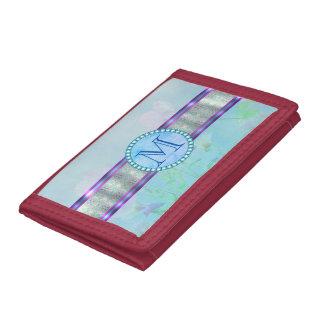 Pastel Blue Floral Monogram Trifold Wallet