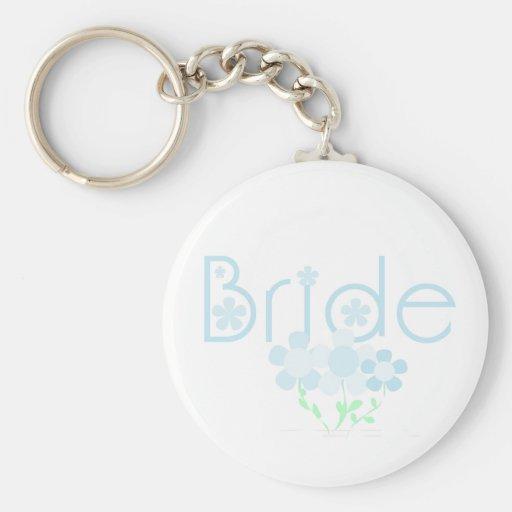 Pastel Blue Flowers Bride Key Chain