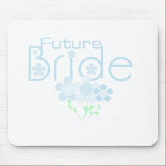 Pastel Blue Flowers Future Bride Mouse Pad