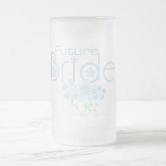 Pastel Blue Flowers Future Bride 16 Oz Frosted Glass Beer Mug