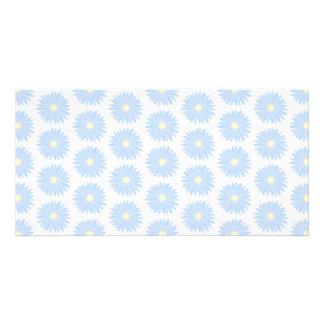 Pastel Blue Flowers. Customized Photo Card